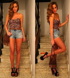 high waisted denim shorts with floral
