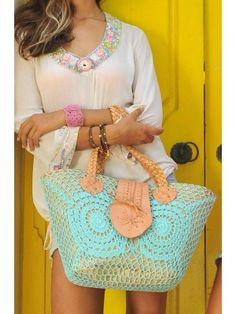 Koop Hot Lava Bag Crochet/Lether Aqua