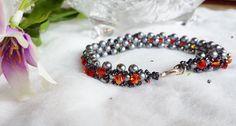 $26 Dark Love Valentines Day Beadwork Bracelet. by BlueWorldTreasures.etsy.com Use #discountcode PIN10 for 10% off #valentinesgift #madeincanada