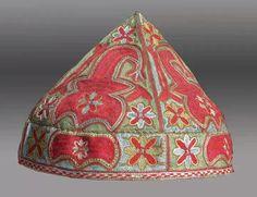 Uzbek hat 19th. Shahrisabz city, silk handmade embroidery, ethnic textiles, uzbekistan.