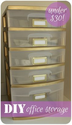 Spray paint plastic drawers gold!!  I don't know that I'd want to paint this sewing smalls storage piece gold, but painting it this way is brilliant.  I'd probably go with aqua/turquoise in my sewing room a/k/a quilt cave.