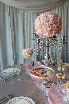 Pink & Grey wedding decor with metallic silver or cream/ivory will create a opulent romantic  wedding