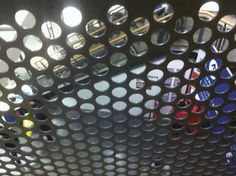 Perfrated Metal Handrail Panels  Perforated steel is extremely versatile and applies itself to a variety of applications such as balustrade infill panels, railings infill panels, acoustics and sound proofing, security screens, louvres and ventilation, and air conditioning grilles.    #sheet #steel #perforatedmetal #mesh #sheets #metal #handrail #perforated Metal Handrails, Security Screen, Perforated Metal, Shop Fittings, Metal Mesh, Sound Proofing, Stage Design, Railings, Conditioning