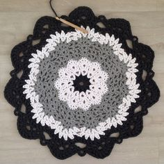 before - black, white and grey t- shirt yarn crochet doily - my own design - 60cm