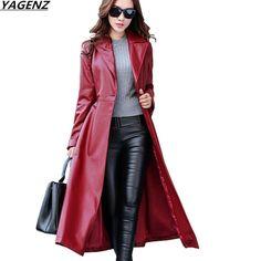 3f6c6c2a351 2017 Autumn Winter New Female Leather Clothing Slim Large Size Long Women  Coat High-quality