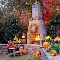 Glowing Outdoor Fireplace Ideas: Fall Outdoor Fireplace