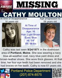 ***MISSING for 45 YEARS*** in PORTLAND, ME- CATHY MOULTON, 16 at time of disappearace, was last seen in the downtown area 9/24/1971 PLEASE CALL Portland Police Department if you have any information @ (207) 874-8575 #missingpersons