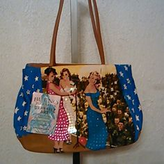 Bueno toteables  wearable art .handbag. New w.tag.big size w.14 -H - 10 -inside out 9 in .multi color.three singin Ladys . Bueno Bags