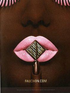 """Fauchon""   MUA: Carole Lasnier Top Makeup Artists, Artisan Chocolate, Just Smile, Food Design, Lip Colors, Best Makeup Products, Advertising, Ads, Makeup Looks"