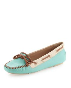 Lowell Colorblock Moccasin, Aqua by Jack Rogers at Neiman Marcus Last Call.