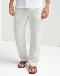 Be it the beach, the bungalow or your backyard, these carefree four-pocket pants were made for relaxation in any location. Crafted from lightweight linen, they wear comfortably in warmer weather and have an elastic waist for a personal fit. Honeymoon Attire, Relaxed Outfit, Elastic Waist Pants, Linen Pants, Tommy Bahama, Workout Pants, Slacks, Man Shop, How To Wear