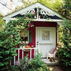 Tiny red cottage.