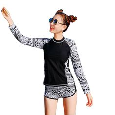 14d5dfb983 Long Sleeve Swimsuit For Women Rashguard Swim Shirts Korea Swimwear Rash  Guard Pants Surf Camisa Uv Bodyboard Camisetas De Surf