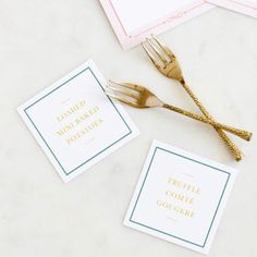 Food cards are a fun and affordable detail that impress guests and help thread your vision throughout an event! Menu cards by @ellopaper | Photo by @maryotanezphotography Fête Weddings