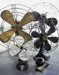 Vintage industrial table fans.