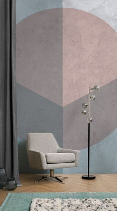 Introduce the soft palette of the Geometric Carerra into your home. The sophisticated design makes it ideal for any room in the house, and the graceful colours send calm vibes through your space. Embodying the industrial luxe style, this mural is made by our in-house designers. #wallpaper #murals #interiordesign #design #home #homedecor #interiordecor #accentwall #inspiration #Ihavethisthingswithwalls #retro #geometric