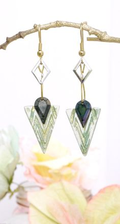 Asymmetric earrings/olive green/diamond/triangle/ by FuLoves http://etsy.me/2iLCu8o