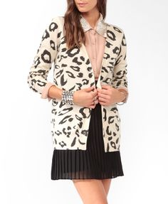 Animal Print Boyfriend Cardigan | FOREVER21 - $27.80 I need some teacher clothes lol
