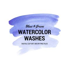 Blue Green Watercolor Wash Clip Art Brush Strokes Backgrounds Digital Art 300dpi png files graphics ombre Washes by theartcitizen on Etsy