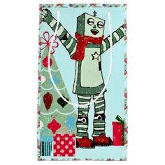 Cute Vintage Pastel Holiday Robot Boy & Tree Gift Bag #zazzle #artwork #robots #holidays