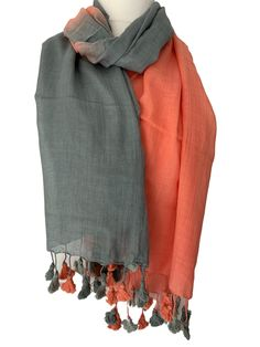 Lightweight Spring 100/% Cotton Blue Red Grey Leaves Scarf Pom Pom Scarf Wrap