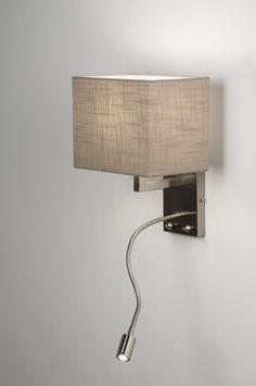 artikel 72045 http://www.rietveldlicht.nl/artikel/wandlamp-72045-modern-metaal-staal_-_rvs-stof-taupe-vierkant