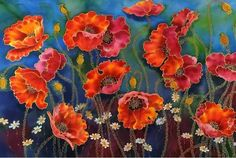 Poppies Painting on Silk by SilkByLena | Giclee Print