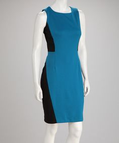 Take a look at this Peacock & Black Color Block Sleeveless Dress by Chetta B on #zulily today!