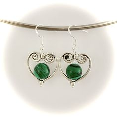 Handmade malachite heart pendant earrings made with sterling silver hooks Pendant Earrings, Heart Earrings, Gemstone Earrings, Handmade Silver, Handmade Items, Handmade Gifts, Malachite, Hooks, Gemstones