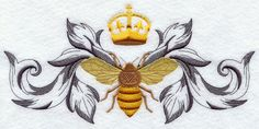 Napoleonic Bee Flourish - Embroidered Decorative Linen Towel or Absorbent Solid White Cotton Flour Sack Towel