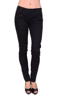 Celebrity Pink Women Black Rinse Skinny Jeans with Flap Coin Pockets 7 Black Rinse