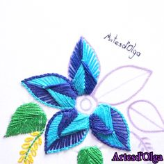 Embroidery Fantasy Double Color - In this video I show you how to embroider a double color fantasy. Diy Embroidery Patterns, Basic Embroidery Stitches, Hand Embroidery Videos, Embroidery Stitches Tutorial, Embroidery Flowers Pattern, Creative Embroidery, Learn Embroidery, Crewel Embroidery, Cross Stitch Embroidery