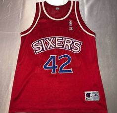 30b024c1f Champion Vintage Mens Large Size 44 Red Philadelphia Sixers Jerry  Stackhouse Champion Basketball Jersey Size l. Grailed