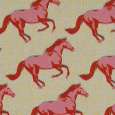 """""""Mustang Horses Pink Metallic"""" - CANVAS Mustang Horses by Melody Miller for Cotton + Steel"""
