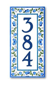 Wall hanging address sign Bluberries home sign by AyeBarDesigns