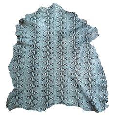 Blue snakeskin printed genuine lambskin by LeatherTreasureShop