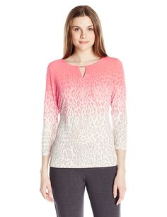 Calvin Klein Women's Printed 3/4 Sleeve W/ Hardware >>> Check this awesome image  : Fashion