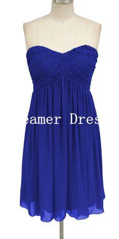 Elegant Chiffon Blue Prom Dress Short Bridesmaid by DreamerDress, $65.00