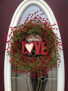valentine door and wall decor | Valentine's Day Grapevine Door Wreath by AnExtraordinaryGift