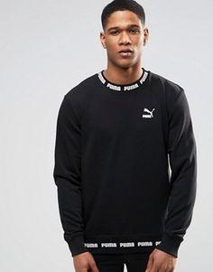 Puma Logo Rib Sweatshirt In Black