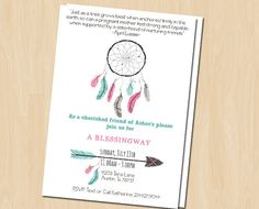 This invitation is specifically designed for a Blessingway or Mother Blessing. Featuring an aqua and pink boho tribal design with dream catcher #babyblessing #motherblessing #blessingway