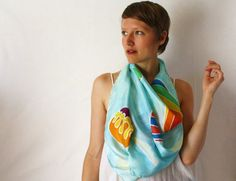 Silk Scarf Hot Air Balloons Spring Fashion  hand by TheSilkMoon, $40.00