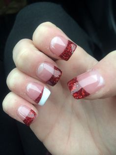 Red Christmas acrylic nails! :) Would e cute with any color for everyday nails. (: