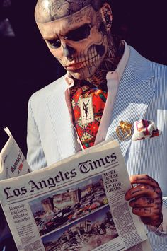 Love him, Rick Genest or Rico the Zombie boy in Ysl, the most tattooed man Rick Genest, Skeleton Tattoo Man, Skeleton Face, Face Tattoos, Tatoos, Boy Tattoos, Makeup Tattoos, Skull Tattoos, Yves Saint Laurent