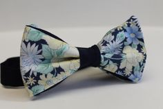 handmade cotton bow tie - navy with yellow white and blue flowers