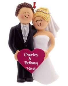 Bride and Groom Holding A Pink Heart personalized ornaments for new couples wedding ornaments (aff link)