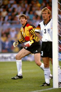 Bodo IlIgner and Andreas Brehme wait to defend a corner at Euro '92.