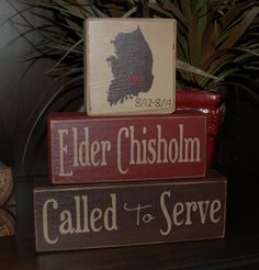 MISSIONARY Blocks Elder Sister Called To Serve LDS Mission Personalized Wood Sign Shelf Sitter Blocks Primitive Country Rustic Home Decor