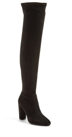 Women's Steve Madden 'Emotions' Stretch Over The Knee Boot. Sleek, minimal styling defines this over-the-knee boot fashioned with an almond toe and a tall wrapped heel.$99.95