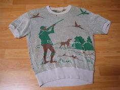 VINTAGE 1950'S HUNTING PRINT CABLE KNIT PULLOVER ROCKABILLY SHIRT -M- NR